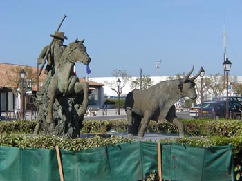 Sculptures of bull and horse - the camargue spirit