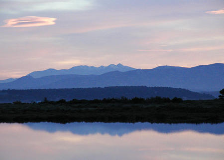 View from Gruissan of Canigou and Pyrenees