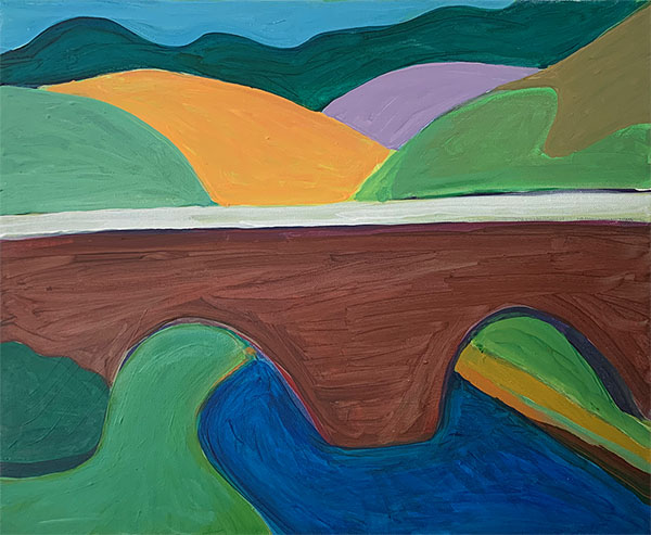 giles mitchell- acrylic painting - bridge over troubled waters - april 2021
